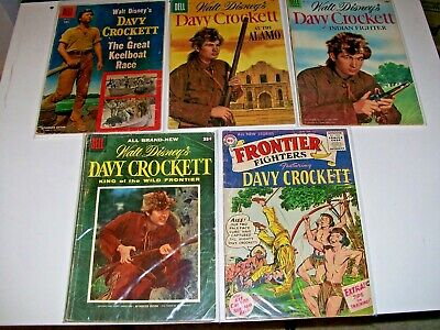 Davy Crockett lot of 5 mixed issues DC Frontier Fighters 3 Dell Disney low grade