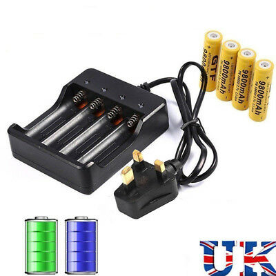 4 Slots UK Plug Battery Batteries Charger for 3.7V 18650 Rechargeable Battery G