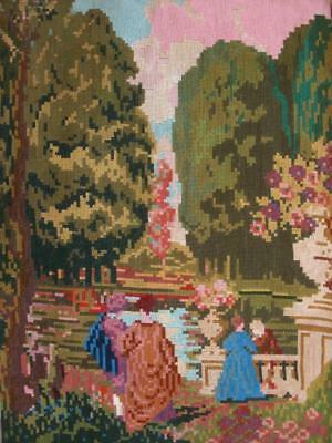"Vintage Completed Needlepoint tapestry walking in the garden 26""x18.2"""
