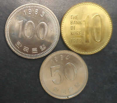 South Korea 1979 10 Won , 1984 50 Won , 1983 100 won UNC  Coin (3) Nice