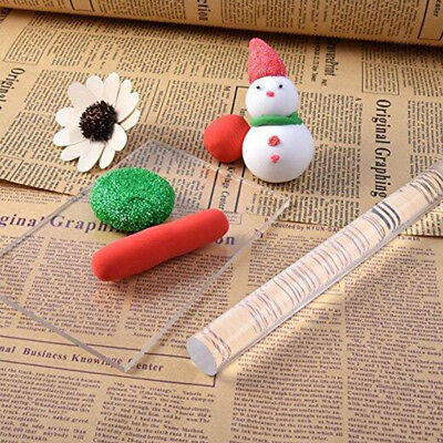 Acrylic Clear Roller Rolling Pin with Sheet Backing Board Polymer Clay Tools