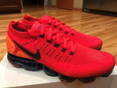 162e51150228 NIKE AIR VAPORMAX Flyknit 2.0 Red Orbit Obsidian Navy Total Orange .