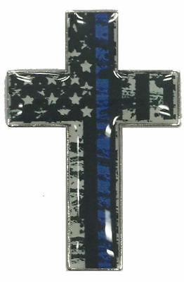 Thin Blue Line Cross American Flag Police Cop Law Enforcement Lapel Hat Pin