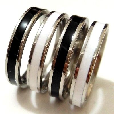 New 50pcs Enamel Mix 4mm Band Comfortable 316L Stainless Steel Men Women Rings
