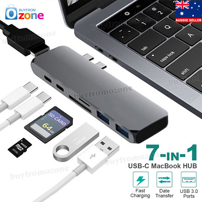 7 in1 USB-C Hub Dual Type-C Aluminum Card Reader Adapter 4K HDMI For MacBook Pro