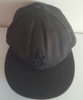New Era Los Angeles Dodgers LA 59FIFTY Fitted Hat Cap All Total Black On Black