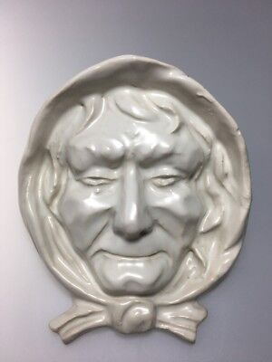 Vintage Old Nancy White Ceramic Wall Pocket Old Lady Face With Hood