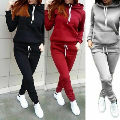 AU 2Pcs Women Hoodies Sports Tops Pants Tracksuit Sweatshirt Sweat Jogging Set