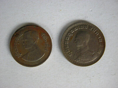 2 Old coins King Rama 9 of Thailand 1962 and 1982 Collectibles Rare Amulet CO990