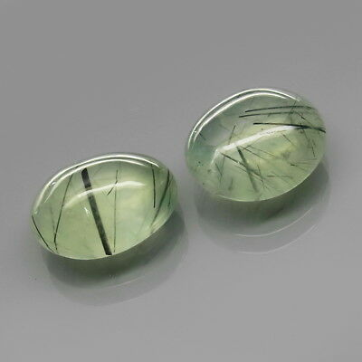 Oval Cabochon 15.5x13-16x12.5mm.Black Rutilated Green Prehnite 2Pcs/23.91Ct.