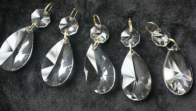 20 Clear Teardrop Crystal Glass Prisms Chandelier Lamp Part Pendant Brass Lx-4