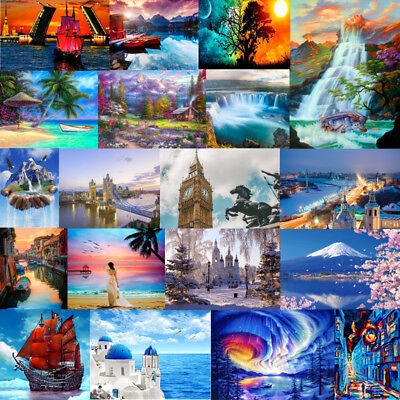 2019 DIY By Numbers Kit Oil Painting On Canvas Home Wall Decor City Scenery