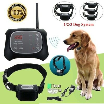 Wireless Electric Dog Fence Rechargeable 3 Dogs System Containment Transmitter