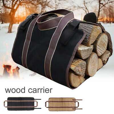 Firewood Log Carrier Canvas Wood Tote Water Resistant Carrying Bag for Fireplace