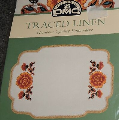 Set 2 Linen Doilies Marigold Flowers Stamped Transfer Printed Embroidery Project