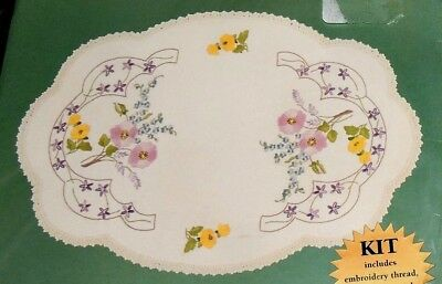Kit Linen Doily Table Centre English Flower Traced Printed Stamped Embroider New