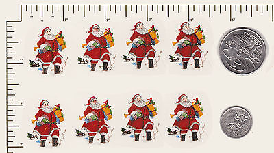"""8 x Waterslide ceramic decals Father Christmas Santa  Approx. 1 1/8"""" x 7/8"""" PD57"""