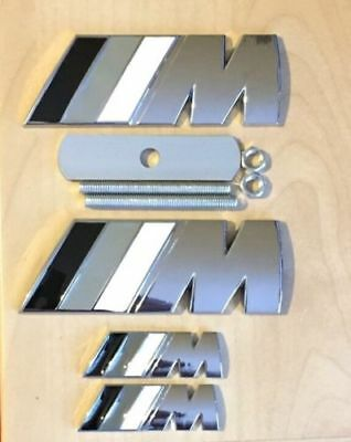/M Sport Chrome M Power Metal Set (1x Front Grill 2x Wings + 1x Boot Badge)BM