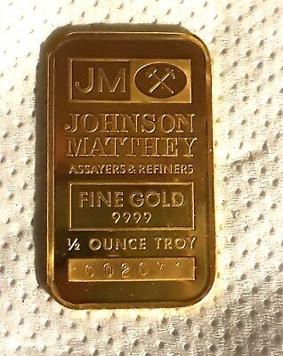 Rare Original Sealed  1/2 oz Johnson Matthey Assayers Refiners 9999  Gold Bar
