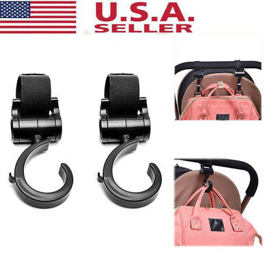 2PCS Baby Hanger Bag Stroller Hooks Pram 360° Rotate Cart Hook Accessories New