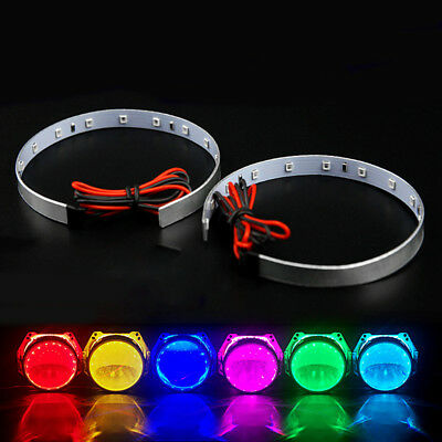 2pcs LED Devil Demon Halo Angel Eyes 3.0'' Car Headlight Projector Lens Ring UK