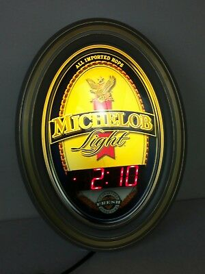Michelob Light Beer Sign Lighted Sign and Digital Wall Clock Advertising 2002