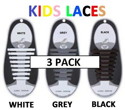 3pk Kids Childrens Silicone No Tie Elastic Shoe Laces Easy Lazy String Rubber Us