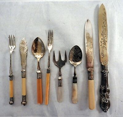 Lot of x10 Antique Fish, Cake, Bread Knives and Forks EPNS c.1910