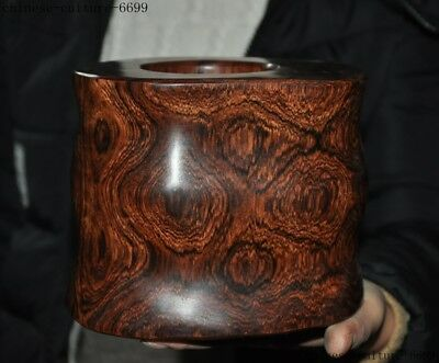 """8""""    Rare Old Chinese Huanghuali Wood Carving Ghost Eyes Brush Pot Pencil Vase"""