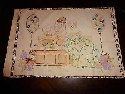 Vintage Art Deco Boudoir Pillowcase Stamped/Embroidered LADY & MAN Garden Bench