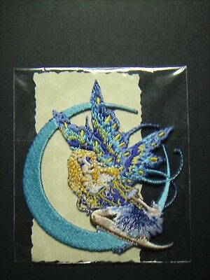 "Fairy Patch #2 - Moon Jewel - Blue Fairy on Crescent Moon - 3"" Wide Patch"