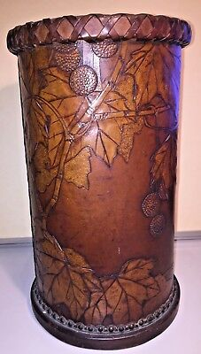 "1900 German Jugendstil ""Stick"" Stand GEORG HULBE ART NOUVEAU Tooled Leather"