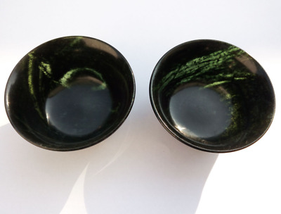 China Natural Exquisite Hand-carved Chinese Hetian Jade - Jade bowl 2PCS