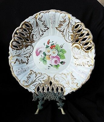 GERMANY PORCELAIN LG KPM BOWL reticulated Pudgy Roses w Gold BERLIN CEPTOR Mark