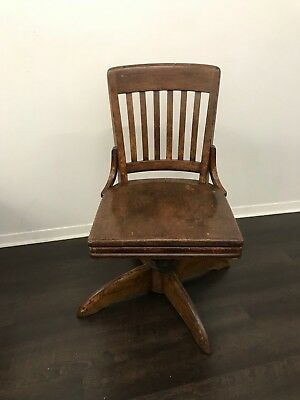GUNLOCKE 1940 Vintage Antique Bankers Office Swivel Chair