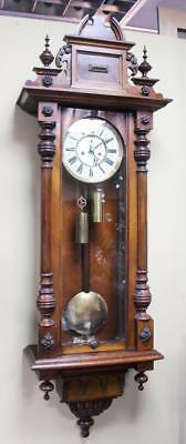 Handsome Antique Victorian Walnut Vienna Wall Clock