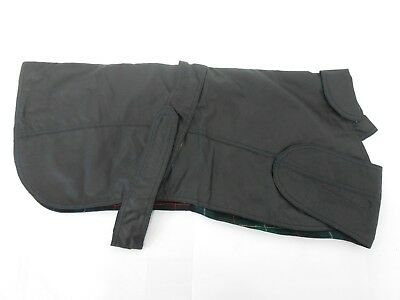 Wax Dog Coat, Black or Green, Tartan Lining - Velcro Fastening and Side Pocket