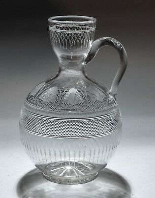 Antique 19th Century Classical Cut & Etched Glass Serving Carafe Decanter