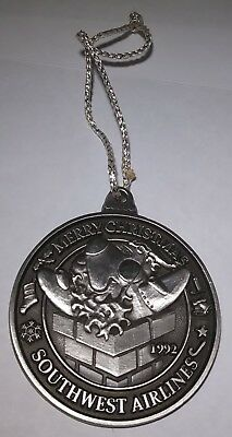 Southwest Airlines Pewter Christmas Ornament Vintage 1992 Holiday Season