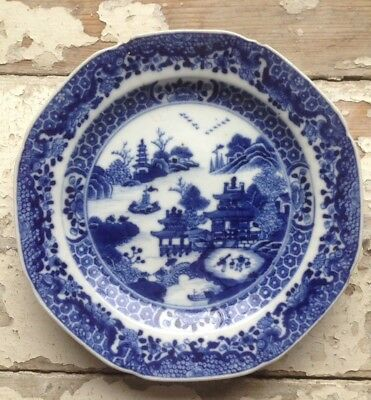 Chinese Blue and White Temple With Willow Trees Pattern Plate c. 1900