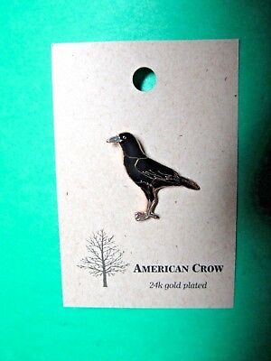 NATURES CHARMS AMERICAN CROW 24k GOLD PLATED LAPEL HAT PIN (30)