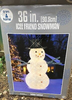 "36"" Snowman Icee Friend Lighted Snowman Yard Decor"