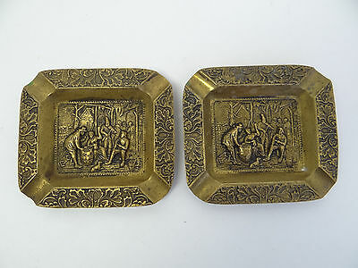 Antique Pair Old Colonial Brass Metal Decorative Chinese China Ashtrays Smoking