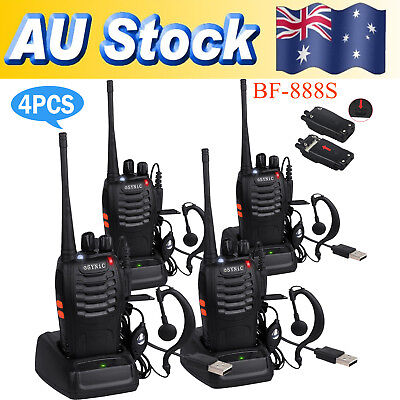 4xPortable Walkie Talkie UHF 400-470MHz 16CH BF-888S Two-Way Radio 5kilometer BY