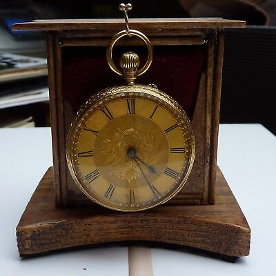 Antique 18ct Gold Open Face Fusee Pocket Watch Crown Wind By Arthur Miller 1886