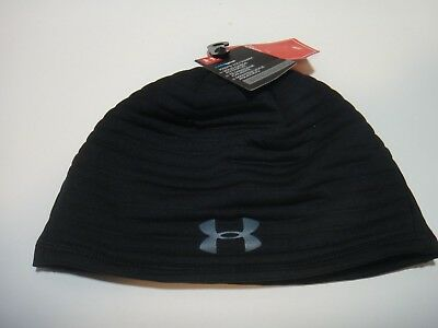 Under Armour Mens Coldgear Reflectivity Gore Windstopper Beanie Hat Black  Gray 3ee8379858e9