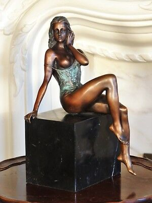 Bronze Statue Sculpture Girl Woman in negligee Figurine after Patoue Interior