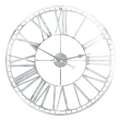 XLarge Silver Bare Metal Wall Clock Modern Industrial Style Home Decor