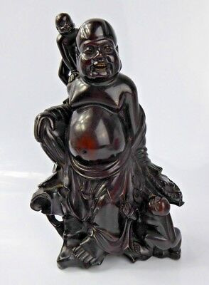 Chinese Antique Finest Carved Lacquered Dark Hardwood Budai Buddha - Zitan? Qing