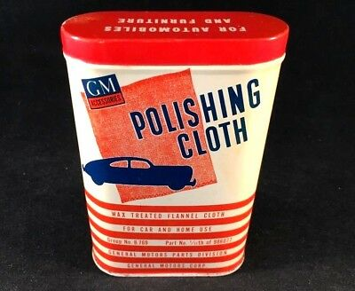 Vintag GM POLISHING CLOTH TIN CAN Rare Old Advertising Gas Oil 1940s Rag Dust